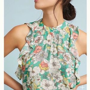 Anthropology x Maeve Floral High Neck Blouse